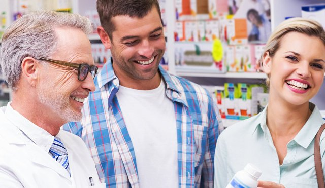 pharmacist and costumers smiling